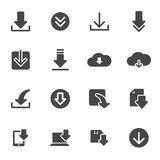 Vector black download icons set. On white background Stock Photography