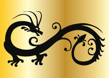 Vector black dragon on gold Stock Images