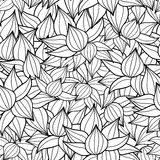 Vector black drawing succulent plant texture drawing seamless pattern background. Great for subtle, botanical, modern Royalty Free Stock Images