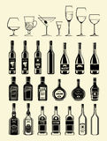 Vector black drinks and beverages icons set Royalty Free Stock Images