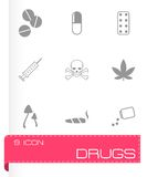 Vector black drugs icon set Royalty Free Stock Images