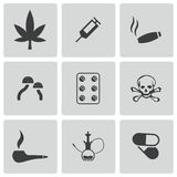 Vector black drugs icons set Stock Images