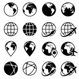 Vector black earth globe icons. Planet globe monochrome and world globe of set illustration Stock Images