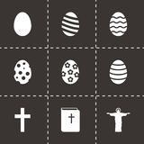 Vector black easter icon set. On black background Stock Images