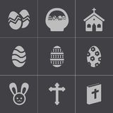 Vector black easter icons set Stock Images