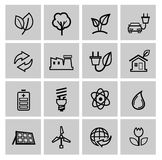 Vector black eco energy icons set Royalty Free Stock Photo