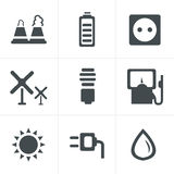 Vector black eco energy icons set on gray Royalty Free Stock Image