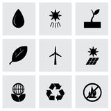 Vector black eco icon set. On grey background Stock Photography