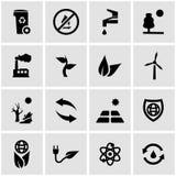 Vector black eco icon set. On grey background Royalty Free Stock Image