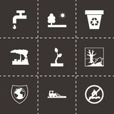 Vector black eco icons set Stock Image