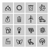 Vector black eco icons set Royalty Free Stock Photos