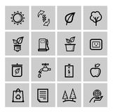 Vector black eco icons set Royalty Free Stock Photography