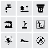 Vector black eco icons set Royalty Free Stock Image