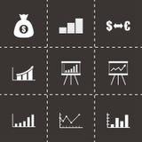 Vector black economic icon set Royalty Free Stock Image