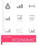 Vector black economic icon set. On grey background Royalty Free Stock Image