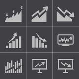 Vector black economic icons set Stock Photos