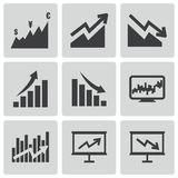 Vector black economic icons set Stock Photo