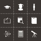 Vector black education icon set Stock Photography