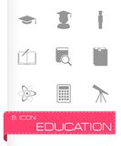 Vector black education icon set Royalty Free Stock Photography