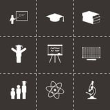 Vector black education icons set. On black background Royalty Free Stock Photography