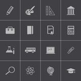 Vector black education icons set Stock Photos