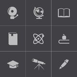 Vector black education icons set Royalty Free Stock Photography