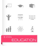 Vector black education icons set Royalty Free Stock Images