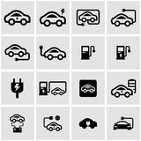 Vector black electric car icon set Stock Photo