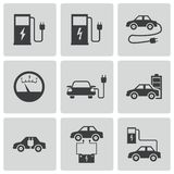 Vector black electric car icons set Royalty Free Stock Image