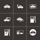 Vector black electric icon set. On black background Stock Images