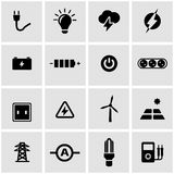 Vector black electricity icon set Royalty Free Stock Photography