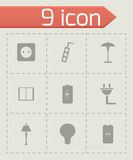Vector black electricity icons set Royalty Free Stock Photos