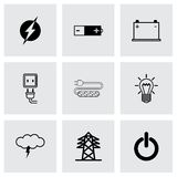 Vector black electricity icons set Royalty Free Stock Photo