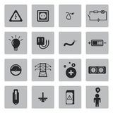 Vector black electricity icons set Stock Photos