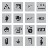Vector black electricity icons set Stock Photos