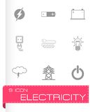Vector black electricity icons set Stock Images