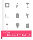 Vector black electricity icons set Stock Image