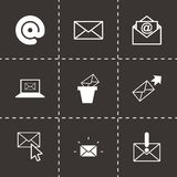 Vector black email icons set. On black background Royalty Free Stock Photo