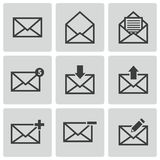 Vector black email icons set Royalty Free Stock Photography