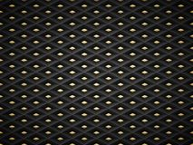 Vector black embossed pattern plastic grid background with golden insert element. Technology diamond shape cell dark geometric. Pattern vector illustration