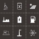 Vector black energetics icons set. On black background Stock Photo