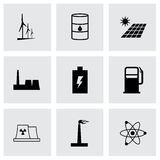 Vector black energetics icons set Royalty Free Stock Photos
