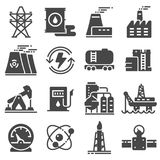 Vector black energy icon set. On gray background Royalty Free Stock Photography