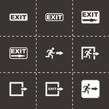 Vector black exit icon set. On black background Royalty Free Stock Images