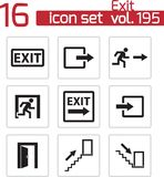 Vector black exit icons set Stock Image