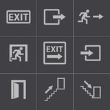 Vector black exit icons set Royalty Free Stock Photos