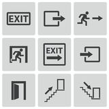 Vector black exit icons set Royalty Free Stock Image