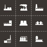 Vector black factory icon set. On black background Royalty Free Stock Image