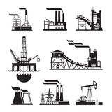 Vector Black Factory Icons Set On Gray Royalty Free Stock Images