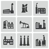 Vector black factory icons set Stock Photography